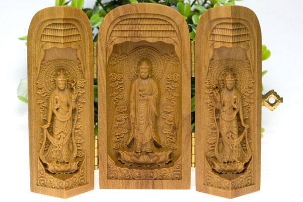 【彫刻置物】檀香樹 西方三聖 ※DM便・ネコポス不可※ 【パワーストーン 天然石 アクセサリー】