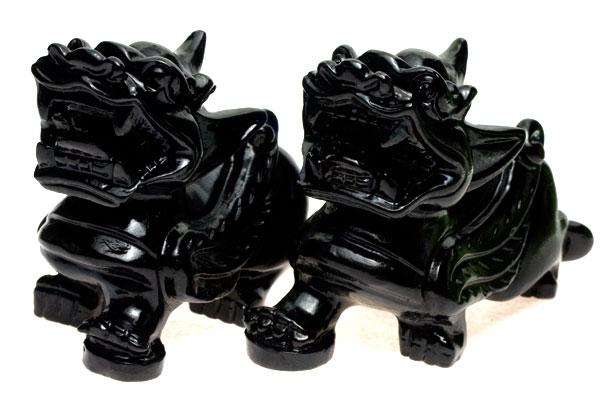 【彫刻置物】貔貅(ひきゅう) オブシディアン(黒曜石) (セット) ※DM便・ネコポス不可※ 【パワーストーン 天然石 アクセサリー】