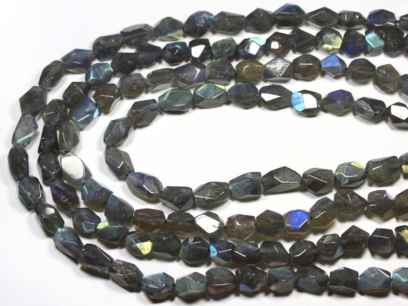 【カットビーズ】ラブラドライト (4A) タンブルカット 約8×12~8×15mm 【パワーストーン 天然石 アクセサリー 1連売り】