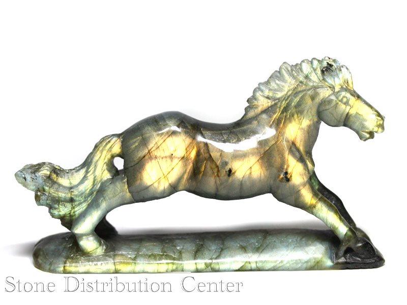 ☆高級一点物☆【彫刻置物】馬 ラブラドライト No.20 ※DM便・ネコポス不可※ 【パワーストーン 天然石 アクセサリー】