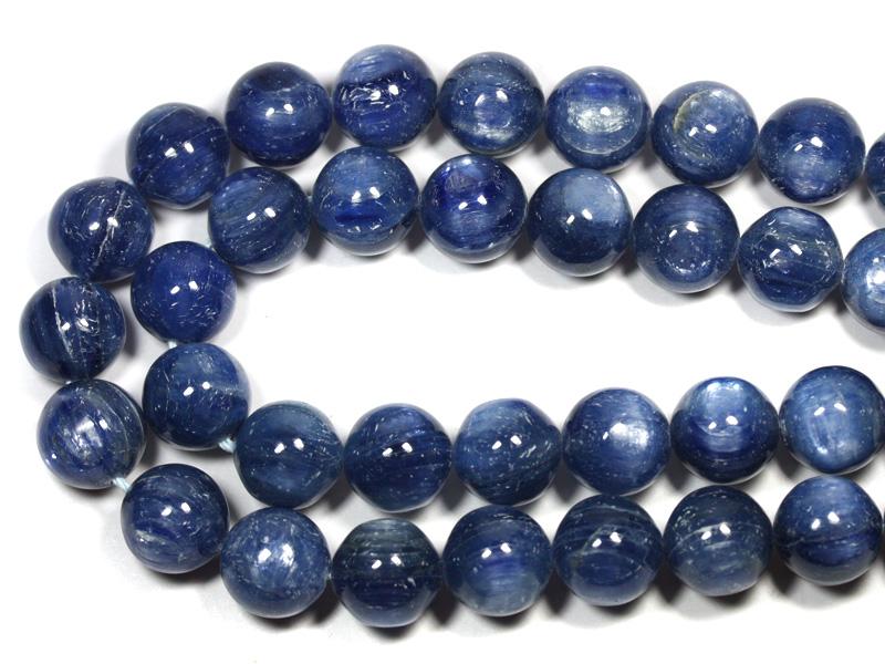 【丸ビーズ】カイヤナイト (3A) ブラジル産 12mm (ブレスレット約1本分) 【パワーストーン 天然石 アクセサリー 半連売り】