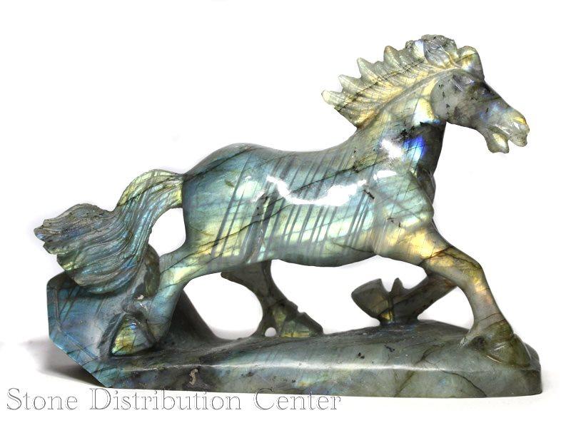☆高級一点物☆【彫刻置物】馬 ラブラドライト No.113 ※DM便・ネコポス不可※ 【パワーストーン 天然石 アクセサリー】