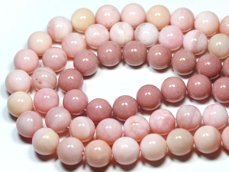 【丸ビーズ】オパール(ピンク) (2A) 14mm (ブレスレット約1本分) ※5の付く日セール※ 【パワーストーン 天然石 アクセサリー 半連売り】
