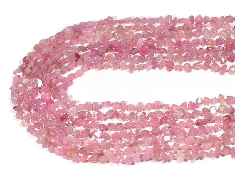 【カットビーズ】トルマリン(ピンク) タンブルカット 約4x6mm 【パワーストーン 天然石 アクセサリー 1連売り】