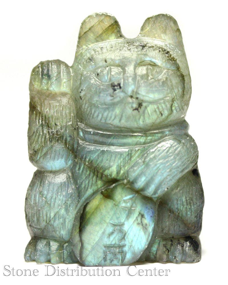 ☆置物一点物☆【彫刻置物】招き猫 ラブラドライト 千万両 No.27 ※DM便・ネコポス不可※【パワーストーン 天然石 アクセサリー】