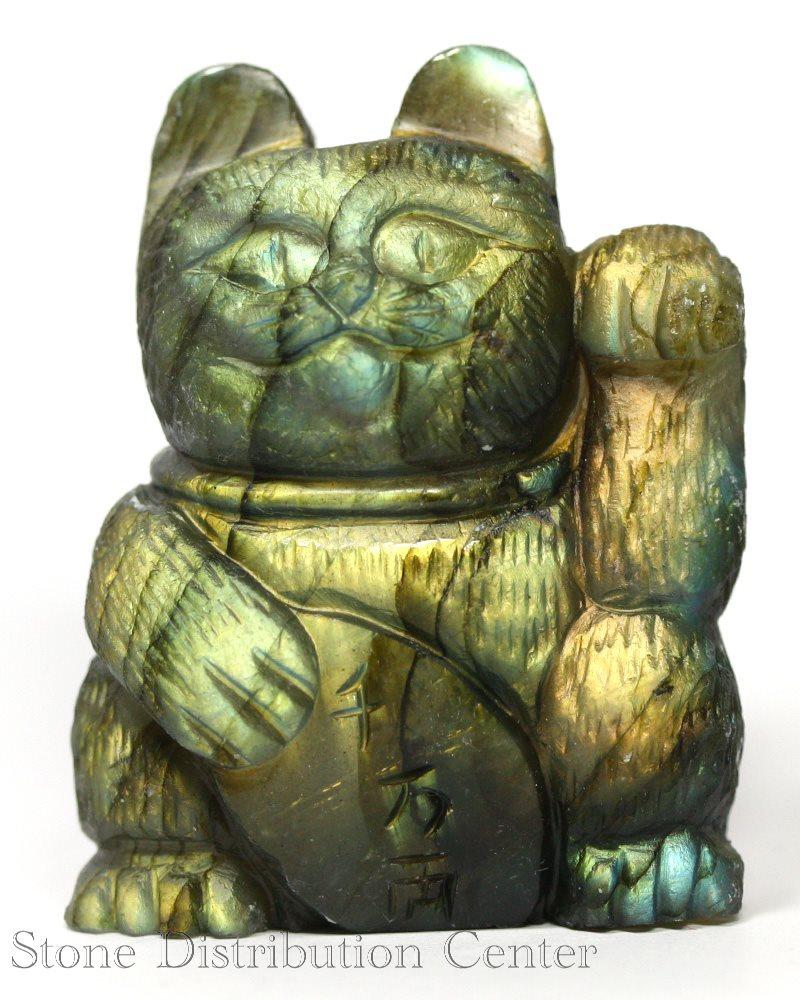 ☆置物一点物☆【彫刻置物】招き猫 ラブラドライト 千万両 No.37 ※DM便・ネコポス不可※【パワーストーン 天然石 アクセサリー】