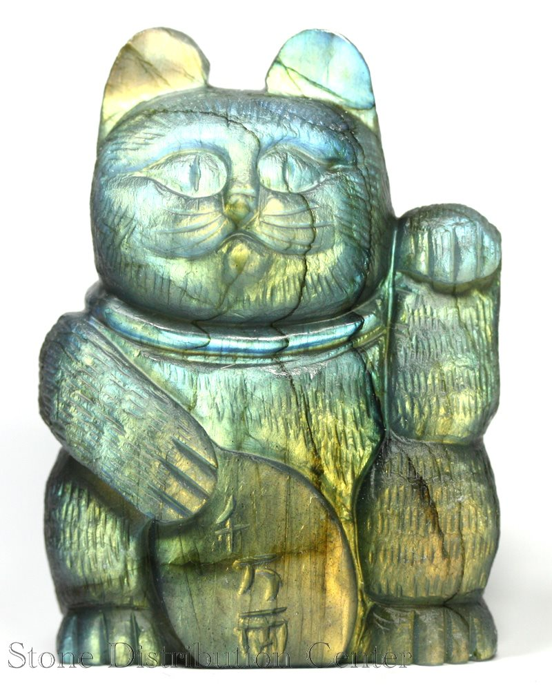 ☆置物一点物☆【彫刻置物】招き猫 ラブラドライト 千万両 No.61 ※DM便・ネコポス不可※【パワーストーン 天然石 アクセサリー】