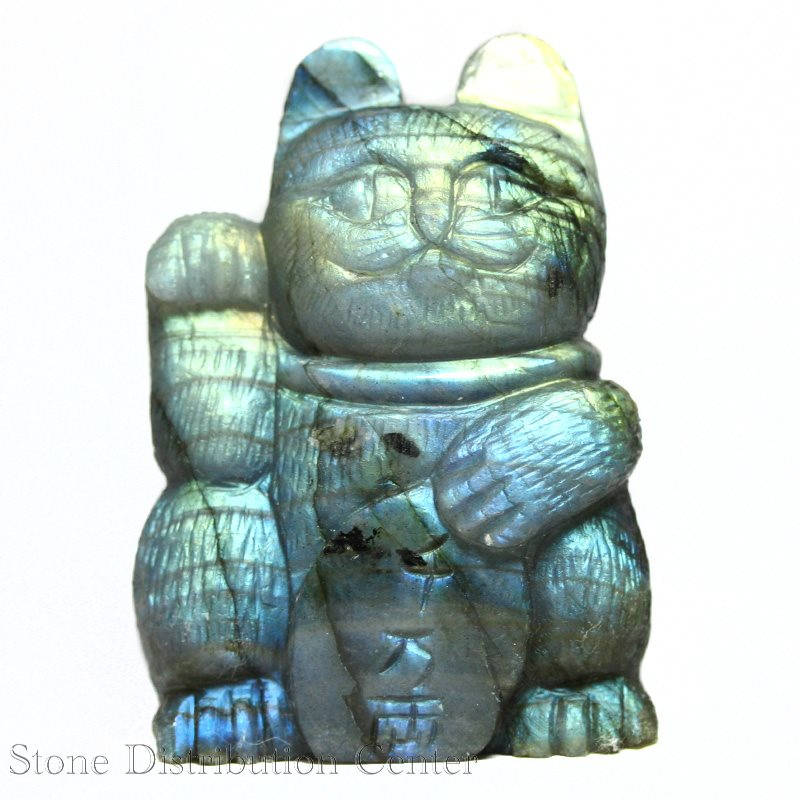 ☆置物一点物☆【彫刻置物】招き猫 ラブラドライト 千万両 No.74 ※DM便・ネコポス不可※【パワーストーン 天然石 アクセサリー】