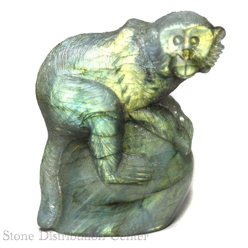 ☆置物一点物☆【彫刻置物】サル ラブラドライト (大) No.09※DM便・ネコポス不可※【パワーストーン 天然石 アクセサリー】