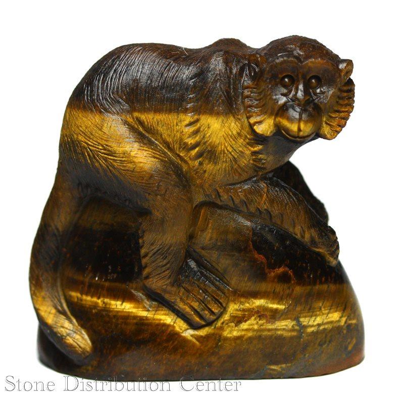 ☆置物一点物☆【彫刻置物】サル タイガーアイ No.45※DM便・ネコポス不可※【パワーストーン 天然石 アクセサリー】