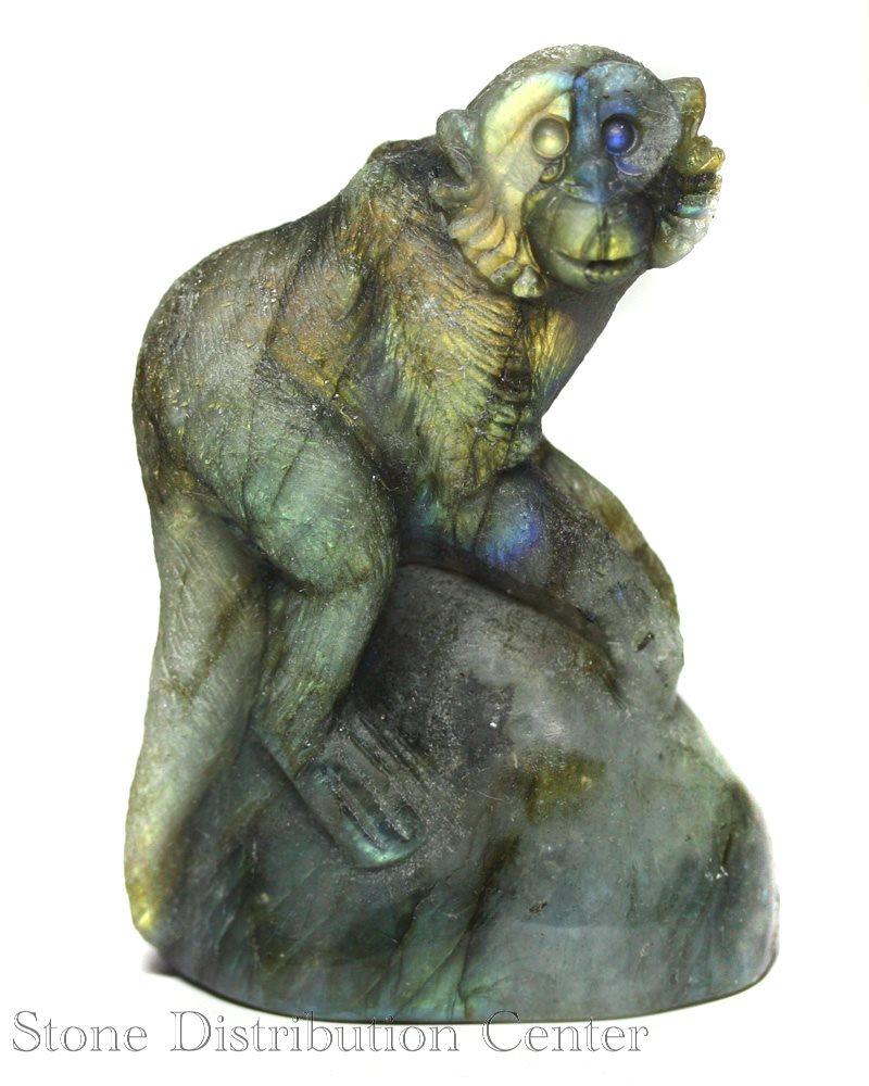 ☆置物一点物☆【彫刻置物】サル ラブラドライト (小) No.05※DM便・ネコポス不可※【パワーストーン 天然石 アクセサリー】