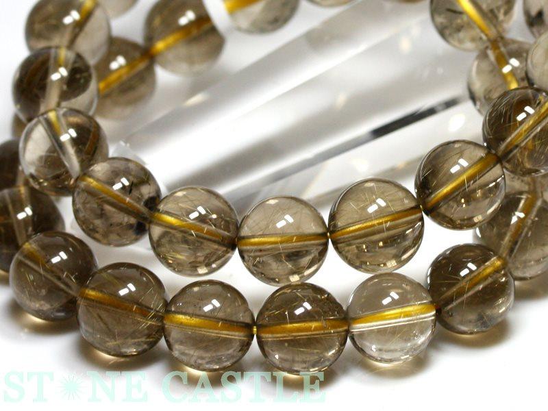 ☆高品質☆【ブレスレット】スモーキールチルクォーツ (3A) (約11~11.5mm) 【パワーストーン 天然石 アクセサリー レディース メンズ】