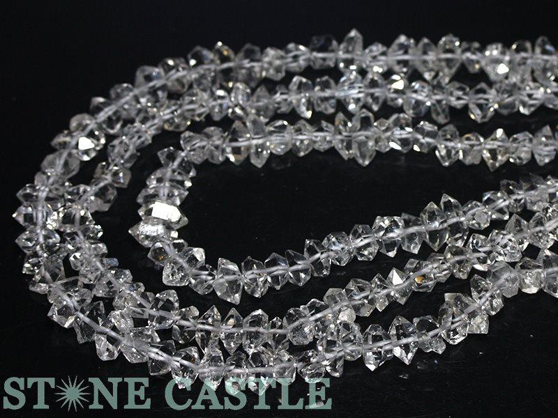 【カットビーズ】ハーキマーダイヤモンド原石 約7x11~8x12mm 【パワーストーン 天然石 アクセサリー 1連売り】
