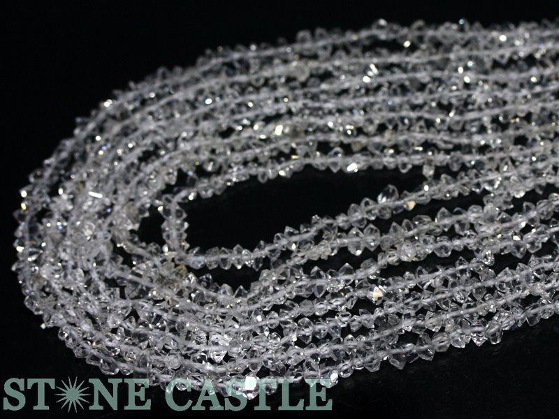 【カットビーズ】ハーキマーダイヤモンド原石 約3x5~4x6mm 【パワーストーン 天然石 アクセサリー 1連売り】