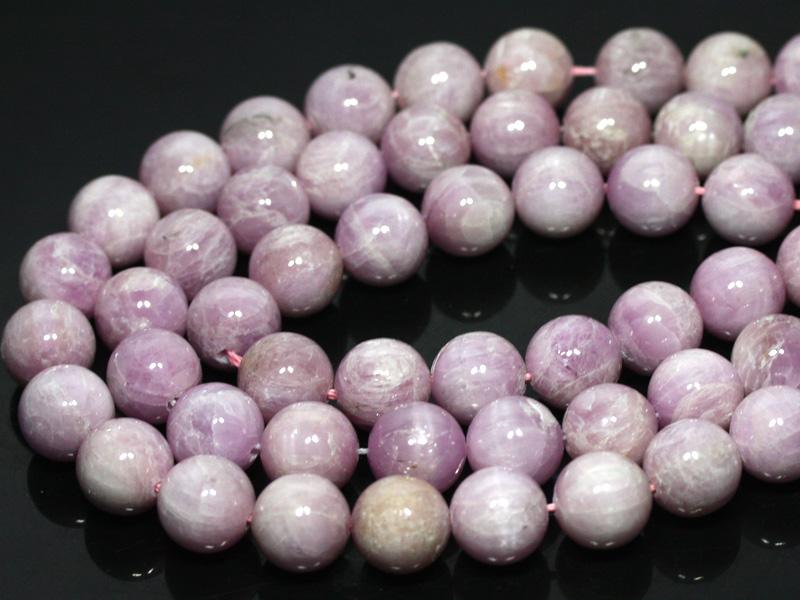 【丸ビーズ】クンツァイト(ピンク) (2A) 14mm (ブレスレット約1本分) 【パワーストーン 天然石 アクセサリー 半連売り】