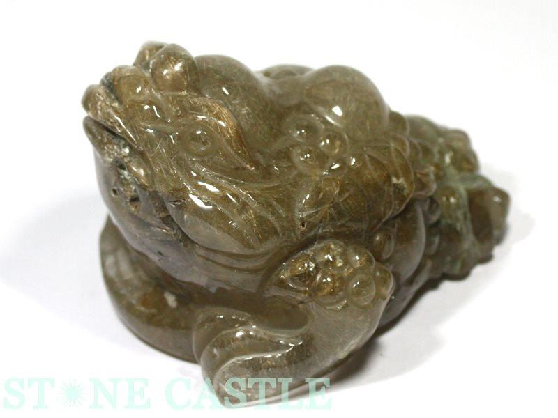 ☆置物一点物☆【彫刻置物】銭蛙(三本足蛙) ルチルクォーツ No.02 【パワーストーン 天然石 アクセサリー】
