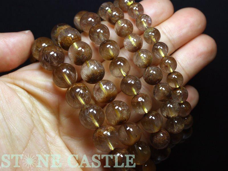 高品質ブレスレット ルチルクォーツ聚宝盆約12~12 5mmケース付パワーストーン 天然石 アクセサリー レディース メンズOnv8wmN0