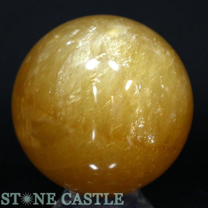 ☆置石一点物☆【置き石】丸玉 ゴールデンカルサイト 約115mm No.20 【パワーストーン 天然石 アクセサリー】