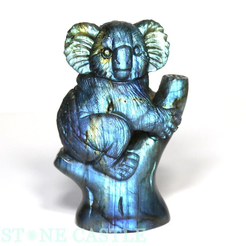 ☆置物一点物☆【彫刻置物】コアラ ラブラドライト No.03 【パワーストーン 天然石 アクセサリー】
