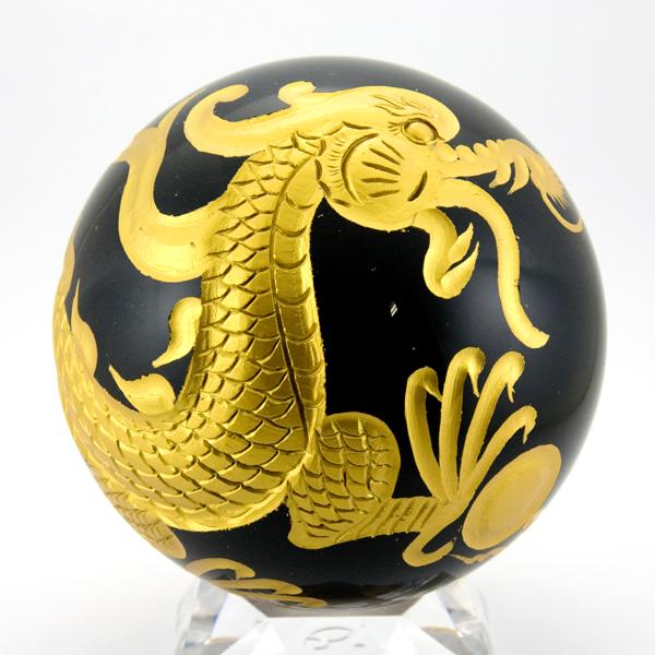 【彫刻置物】丸玉 オブシディアン約100mm 五爪龍 鳳凰 四神獣(金彫り) 【パワーストーン 天然石 アクセサリー】