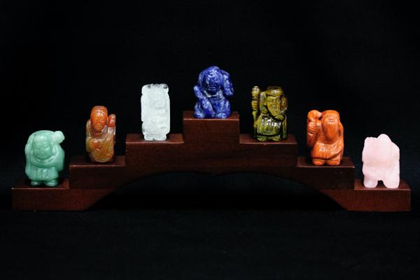 【彫刻置物】七福神 (セット・木製台付き) 【パワーストーン 天然石 アクセサリー】