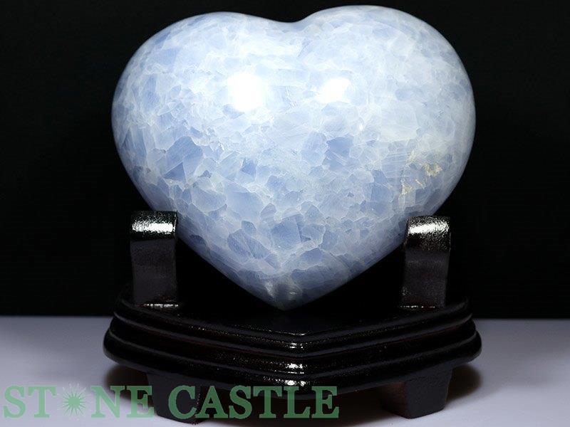 ☆置石一点物☆【置き石】ハート型 ブルーカルサイト (台付) No.61 【パワーストーン 天然石 アクセサリー】