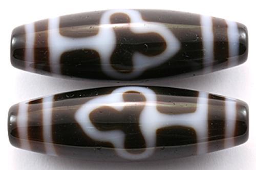 ★New Year SALE★【天珠ビーズ】高級風化天珠3.8cm 菩提 (茶地に白模様タイプ) 【パワーストーン 天然石 アクセサリー】