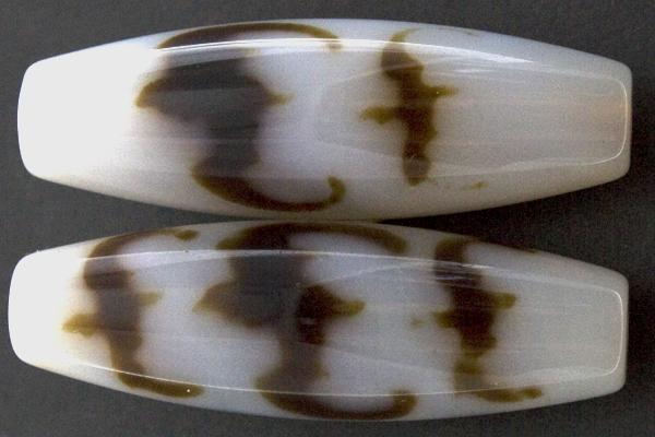 【天珠ビーズ】高級風化天珠3.8cm 五福臨門 (白地に茶模様タイプ) 【パワーストーン 天然石 アクセサリー】