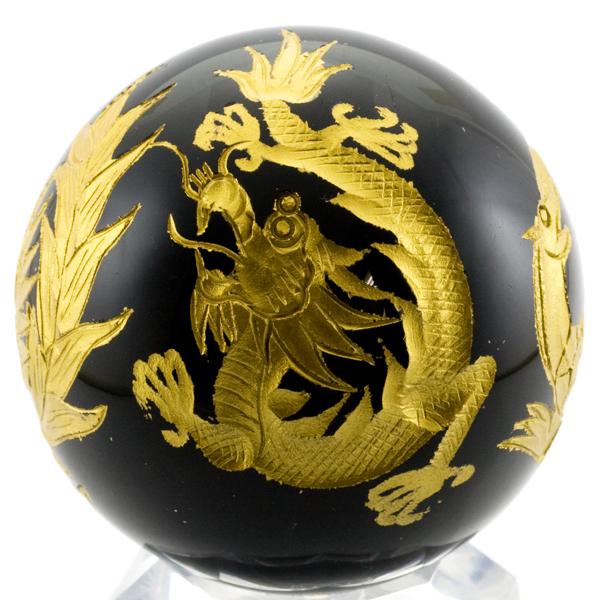 【彫刻置物】丸玉 オブシディアン 四神獣(金彫り) 約50mm ※DM便・ネコポス不可※ 【パワーストーン 天然石 アクセサリー】