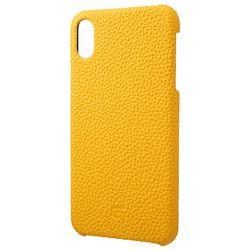 坂本ラヂヲ Shrunken-Calf Leather Shell Case for iPhone XS Max Yellow(GSC-72458YLW) 取り寄せ商品
