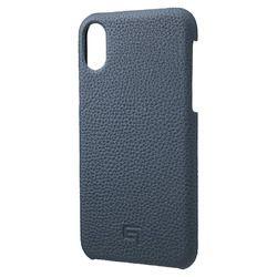 坂本ラヂヲ Shrunken-Calf Leather Shell Case for iPhone XS/X Navy(GSC-72358NVY) 取り寄せ商品