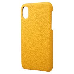 坂本ラヂヲ Shrunken-Calf Leather Shell Case for iPhone XS/X Yellow(GSC-72358YLW) 取り寄せ商品