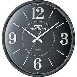 ノア TECHNOS ラウンド アナログ 掛時計 石目ブラック W-685 SFB(W-685-SFB) 取り寄せ商品