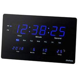 ノア MAG(マグ) 掛け時計 ブラック 220x360x22mm 大型LED置き掛け時計 デジブル(W-724-BK) 取り寄せ商品