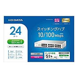 アイ・オー・データ機器 100BASE-TX/10BASE-T対応 24ポートスイッチングハブ ホワイト(ETX-ESH24NCW) 取り寄せ商品