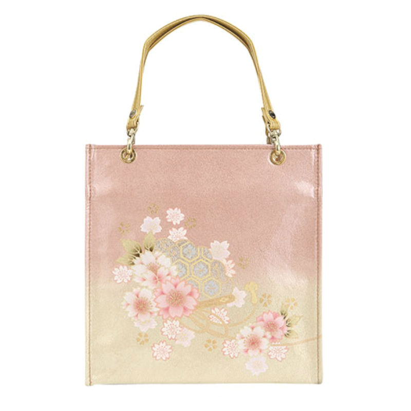 【etoffe】京都型友禅・亀甲扇子(きっこうせんす)ジャパン 和柄エトフ 着物バッグ ピンク