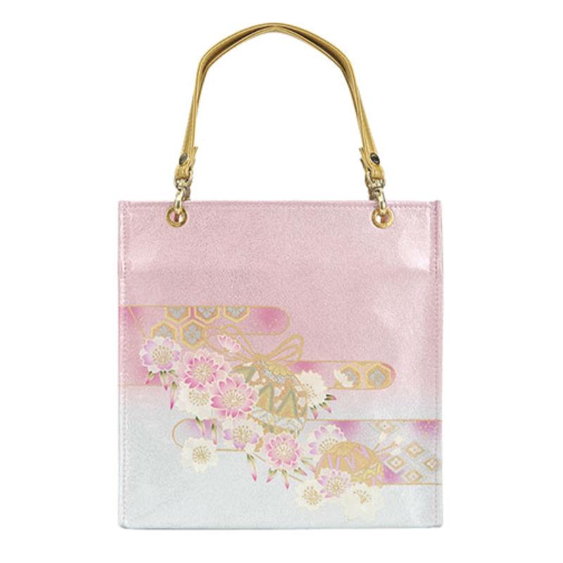 【etoffe】京都型友禅・手毬桜(てまりざくら) ジャパン 和柄エトフ 着物バッグ ピンク