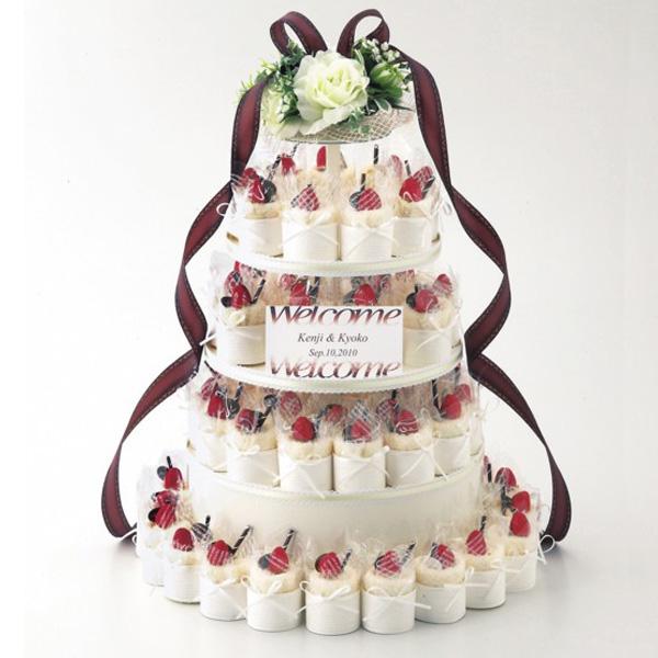 プチギフト ガレットオランジュケーキタオル60個セット ケーキ台・造花付 結婚式 二次会 タオル ギフト