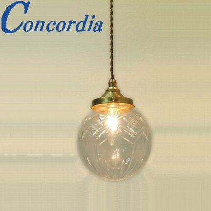 ペンダントライト 106/CUT-RP2 ガラス カットガラス クリア 照明 ダイニング 玄関 階段 トイレ 洗面所 廊下 おしゃれ トラディショナル レトロ アンティーク風 コード 引っ掛けシーリング 暖かい光 真鍮製 真鍮色