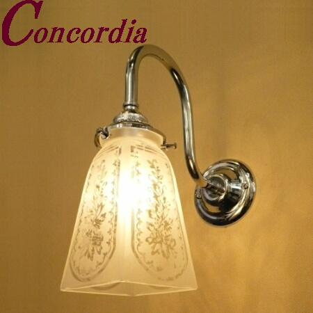 【ブラケットライト WB241/Y+965/SAT】 真鍮製 ガラスシェード アンティーク風 壁照明 トラディショナル 可愛い 本格的 廊下 寝室 クロム LED電球使用可