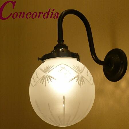 【ブラケットライト WB241/Z+106F/CUT】 真鍮製 ガラスシェード アンティーク風 壁照明  ヨーロッパ デザイン エレガンド 洋館 玄関 洗面 アイアン風 LED電球使用可