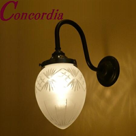 【ブラケットライト WB241/Z+963F/CUT】 真鍮製 ガラス アンティーク風 壁照明 デザイン クラシカル エレガント 高級 リビング 洗面 アイアン風 LED電球使用可