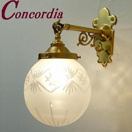 【ブラケットライト WB251+106F/CUT】 真鍮製 ガラス アンティーク風 壁照明 デザイン かわいい 本格的 ホール 洗面所 LED電球使用可