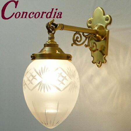 【ブラケットライト WB251+963F/CUT】 真鍮製 ガラス アンティーク調 壁照明 トラディショナル 可愛い 本格的 ホール 洗面所 LED電球使用可