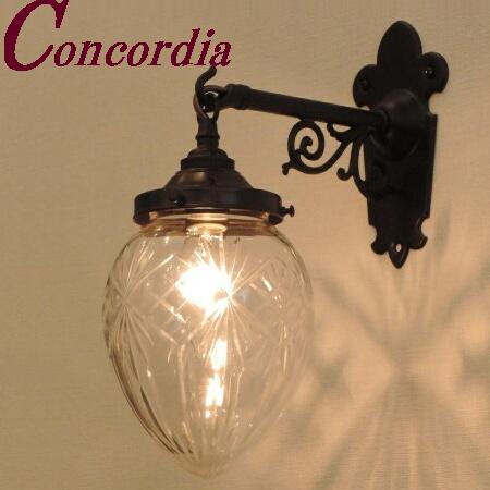 【ブラケットライト WB251/Z+963/CUT】 真鍮製 ガラス アンティーク風 ブラケット照明 クラシック かわいい 本物 玄関 トイレ 黒 LED電球使用可