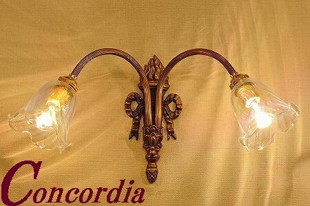 【ブラケットライト 2灯 WF325/2+360/PRL】 真鍮製 ガラス アンティーク調 壁照明 レトロ かわいい 高級 階段 ホール LED電球使用可