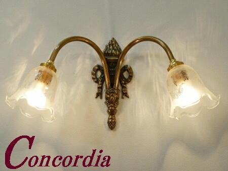 【ブラケットライト 2灯 WF325/2+360/SAT】 真鍮 ガラスシェード アンティーク風 ブラケット照明 クラシカル 可愛い 本物 廊下 寝室 LED電球使用可