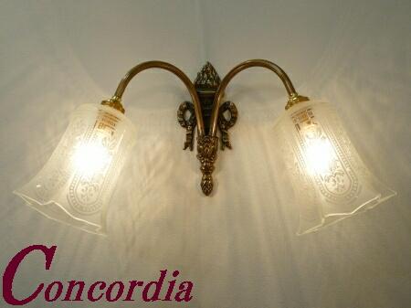 【ブラケットライト 2灯 WF325/2+411/SAT】 真鍮製 ガラス アンティーク調 壁照明 デザイン お洒落 洋館 寝室 階段 LED電球使用可