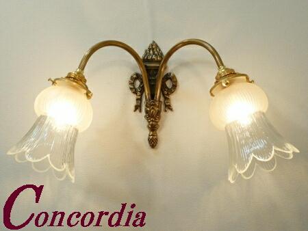 【ブラケットライト 2灯 WF325/2+510/SAT】 真鍮 ガラスシェード アンティーク風 壁照明 クラシック かわいい 高級 階段 洗面所 LED電球使用可