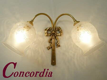 【ブラケットライト 2灯 WF340/2+410M/SAT】 真鍮製 ガラス アンティーク調 壁照明 レトロ エレンガント 本物 廊下 寝室 LED電球使用可